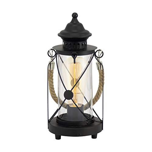 EGLO Tischlampe Bradford, 1 flammige Vintage Tischleuchte, Laterne, Nachttischlampe aus Stahl, Farbe: Schwarz, Glas: klar, Fassung: E27, inkl. Schalter -
