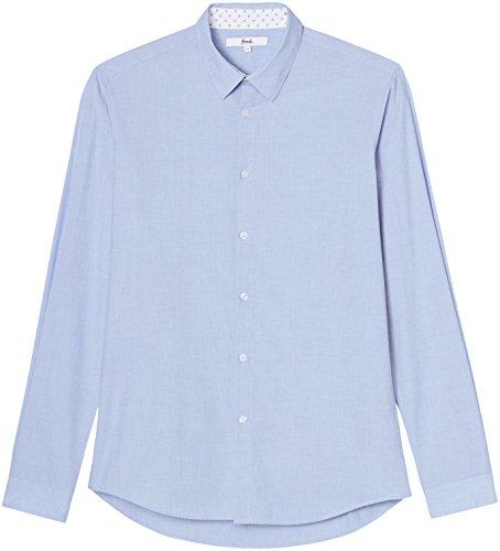 FIND Herren Schmales, Strukturiertes Baumwollhemd Blau (Blue)