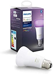 Philips Hue Bombilla Inteligente LED E27, con Bluetooth, Luz Blanca y Color, Compatible con Alexa y Google Hom