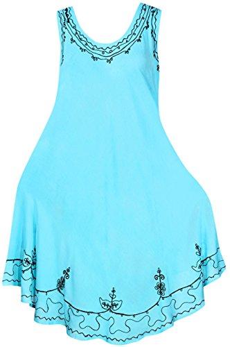 La Leela Girls Rayon Crusie Short Dress LightBlue UK : 14 (M) - 24 (2XL)