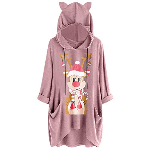 Andouy Damen Xmas Drucken Sweatshirt Langarm Kapuzenpullover Frauen Katzenohr Hoodie Pullover(XL.Rosa-2)