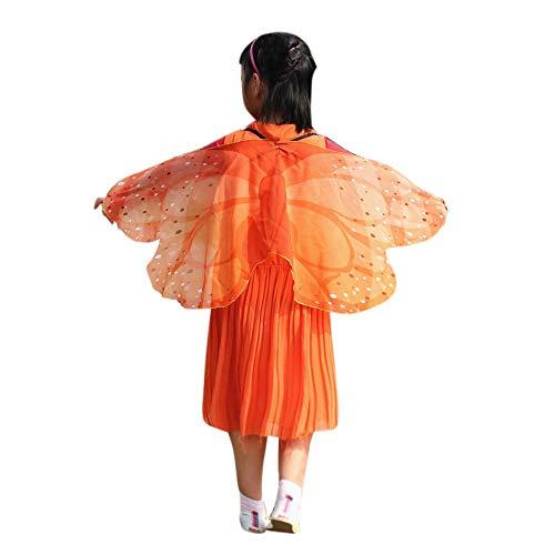 (YWLINK Chiffon Klassisch Jungen MäDchen Karneval Bohemien Schmetterling Print Schal Cosplay ZubehöR Erwachsener Eltern Kind Weihnachten Halloween FlüGel Umhang Pashmina(118 * 48CM,B Orange))