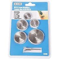 TrifyCore Mini juego de cuchillas de sierra HSS 6 piezas con mandril de mango recto de 6 mm para herramienta rotativa amoladora eléctrica blanca