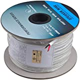 C&E Series 16 Gauge AWG CL2 Rated 2 Conductor Speaker Wire/Cable (250ft/ 76 Meter) Fire Safety in Wall Rated, Jacketed in White PVC Material 99.9% Oxygen-Free Pure Bare Copper