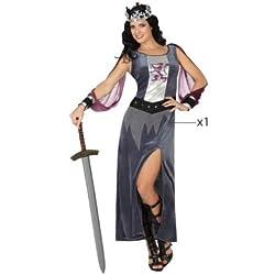 Atosa - Disfraz de Soldado Medieval para mujer, color: Gris/Lila, 34/36 (Talla del fabricante: XS/SXS/S)