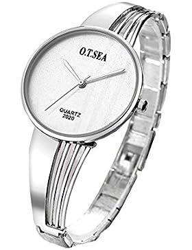 Souarts Damen Armbanduhr Einfach Stil Studentenuhr Analoge Quary Uhr mit Batterie Silber Farbe