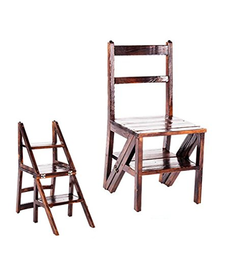 LIXIONG Chaise Pliante Échelles Multifonctions Usage Double Échelle en Trois étapes Bois Massif Couleur de carbonisation, avec antidérapant tabourets de bibliothèque