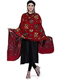 Rani Saahiba Women's Block Printed Aari Mirror Work Cotton Dupatta