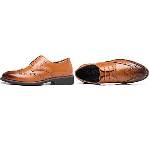 Lyzgf Hommes Hommes D'affaires Casual Mode Retro Lace Up Chaussures Jaune En Cuir