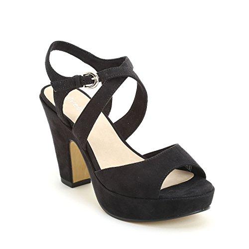 PRENDIMI by Scarpe&Scarpe - Sandalen mit Absatz und Überkreuz-Detail, mit Absätzen 10 cm Schwarz