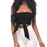 New Women Vintage Lace Up Strapless Bandage Crop Top Wrapped Chest Mini T-shirts