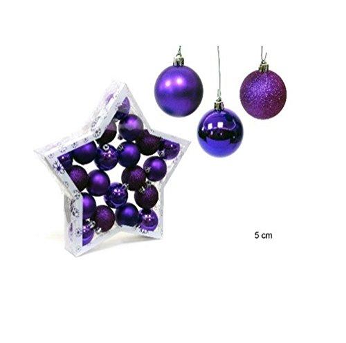 Pack 20 boules de Noël Violet 5 cm