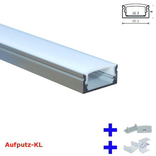 200 cm ~ eloxierte Aluminium Profile + Abdeckung + 2xClips + 2xEndkappen Alu für LED Streifen