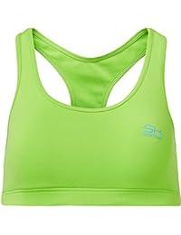 Sportkind Soutien-gorge de sport / tennis / fitness avec maintien moyen pour fille et femme en vert fluo tailles 11 ans à XL