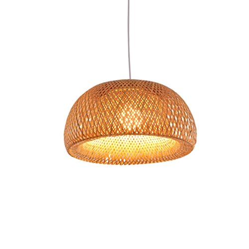 Pendelleuchte handgeflochten aus Bambus Pendellampe Kreative Design Lampeschirm Personalisierte Hängeleuchte Rattan Kronleuchter Hängelampe für Esszimmer Schlafzimmer, Ø30cm -