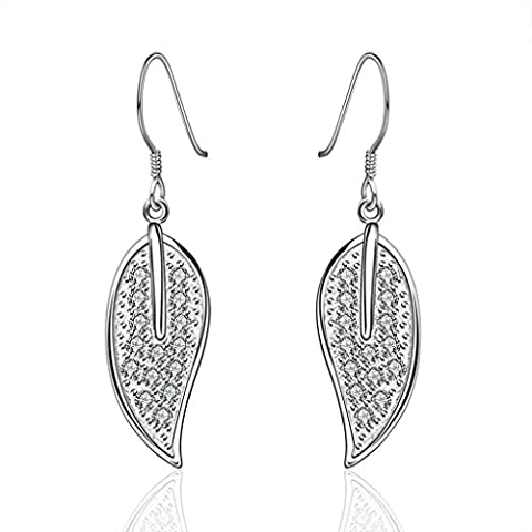 AMDXD Jewelry Gold Plated Women White Gold Earrings Tree Leaves Pendant Elements