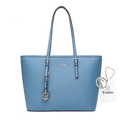 Yoome Cross Pattern Large Capacity Tote Taschen für Frauen Make-up Beutel Tasche Beiläufige Taschen für Mädchen - L.Grey Blau