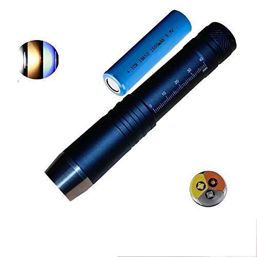 LED 3in 1UV-Taschenlampe Blacklight 365nm UV-Lampen Gem Jade Schmuck Inspektion Flash Light Hund Urin Flecken aktuellen Detektor Taschenlampe Torch 18650Akku, Schwarz , flashlight+18650 battery, no 3.70volts