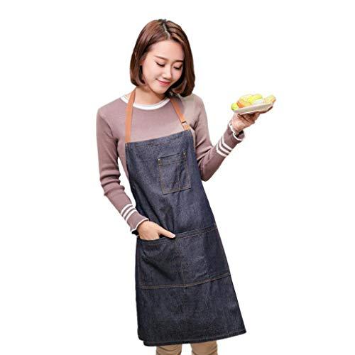 Schürze Baumwolle Denim Kochschürze Grillschürze Latzschürze Ärmellose Damen Schürze mit Taschen 71 * 65cm
