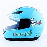 Casco de moto casco eléctrico Casco de montar casco completo Casco de invierno e invierno para niños (Color : Blue)
