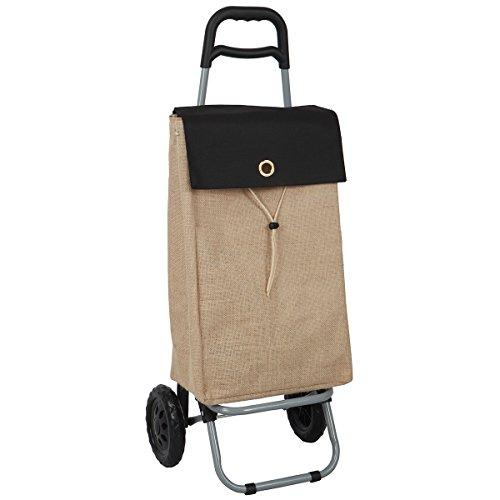 Laroom Einkaufstrolley mit Tasche Design nature37Liter, Jute, Braun, 35x 28x 92cm