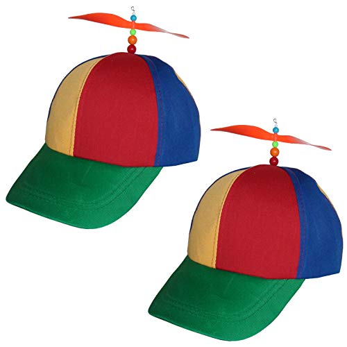 2 Baseball Cap mit Propeller Blau Rot Gelb Basecap Propellercap Baseballcap