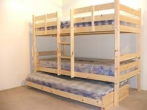 Letto a castello molto robusto con terzo letto estraibile 92 cm sponde di protezione laterali - Letto a castello con terzo letto estraibile ...