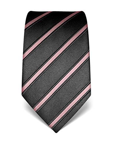 Vincenzo Boretti Herren Krawatte reine Seide gestreift edel Männer-Design gebunden zum Hemd mit Anzug für Business Hochzeit 8 cm schmal/breit rosa