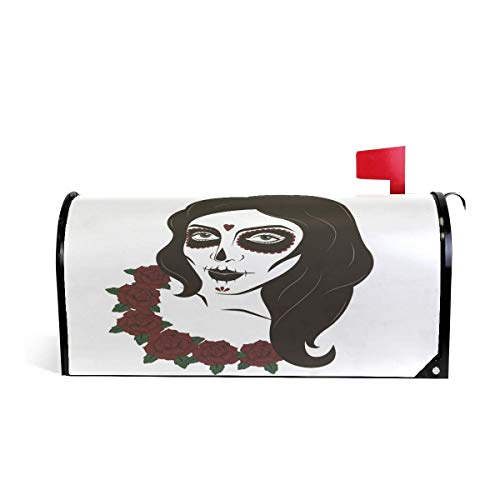 Womens Skull Rose (prz0vprz0v Suger Skull Woman Rose Magnetic Mailbox Cover Home Garden Decorations 21 x 18 Inches Waterproof Canvas Mailbox Cover)