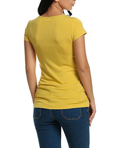 HOTOUCH Maternité - Tee Shirt Grossesse Allaitement Tops Manche Courte Femme Jaune