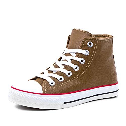 Marimo Klassische Unisex Damen Herren Schuhe High Top Sneaker Turnschuhe in Lederoptik Khaki 46