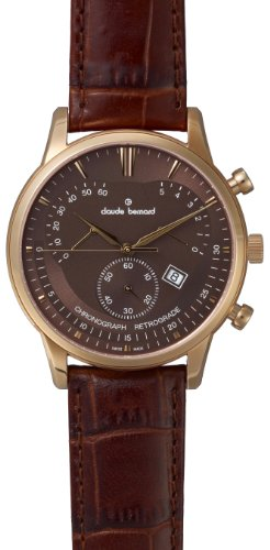 Claude Bernard Men's 01506 37R BRIR Classic Rose Gold PVD Brown Dial Chrono Leather Watch