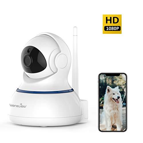 Wansview Caméra de Surveillance WiFi 1080P Caméra IP, Caméra de Sécurité avec Vision Nocturne, Audio Bidirectionnel, PTZ Q3s Blanche