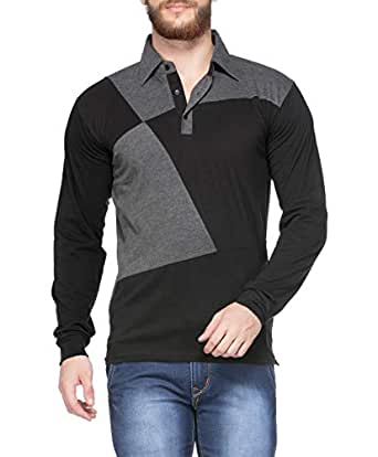 V3Squared Men's Cotton Full Sleeve Polo T Shirt (Black and Grey; Small)