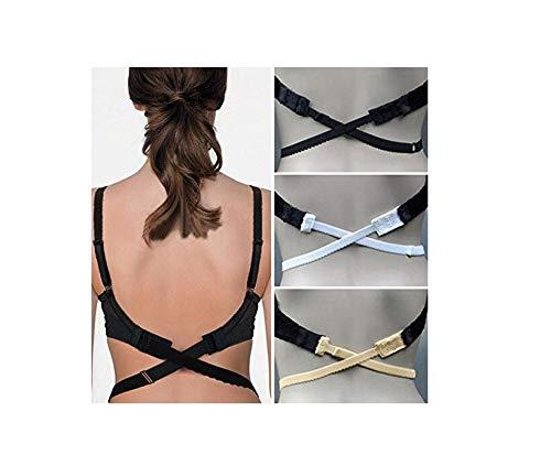 Nestling® 3 Stück BH-Verlängerer BH Verlängerung Erweiterung Rückenfrei Rückenkonverter (schwarz+ weiß+Aprikose) (Bhs, Die Haken In Der Front)