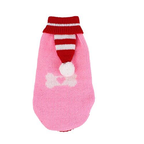 Sourcingmap Pom Pom Detail Strickwaren Gerippte Bündchen Pet Bekleidung Pullover, XS, rot pink - Accent Sweater