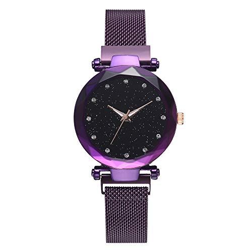XMYL Damen Armbanduhren Sternenklarer Himmel Dial Quarz Uhren Lazy Dekoration Armband mit Magnetband,Purple