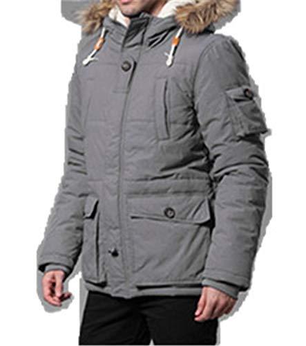 Herren Gesteppt Reißverschluss Mit Kapuze Mode Winter Parka Jacke Baumwolle Mantel(M,grau)