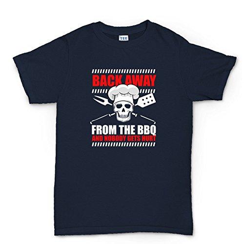 Back Away From BBQ Grill Funny T-Shirt Navy Blau