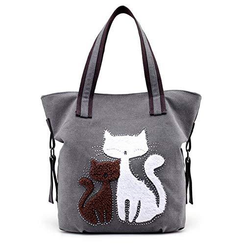 WEIZHE Damen Handtasche aus Segeltuch mit Katzenmotiv Einheitsgröße grau