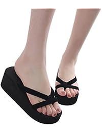 chanclas de mujeres,BBestseller mujeres de moda de verano chanclas playa zapatilla de Cuña Zapatos de tacón suela gruesa flips-flopes Sandalias de planas (eu34-43,rosa)