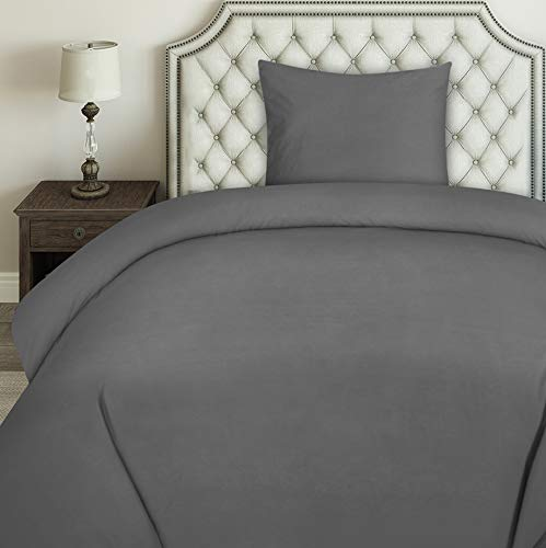 Utopia Bedding Bettwäsche-Set - Mikrofaser Bettbezug und Kissenbezug (Grau, 135x200cm + 1 x Kissenbezug 80x80cm)