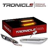 Tronicle Hochwertige LED Seitenblinker passgenau für Ihr Fahrzeug in Chrom klar oder Schwarz Smoke mit Dichtungslippe für eine Aufwertende Front. (Chrom)