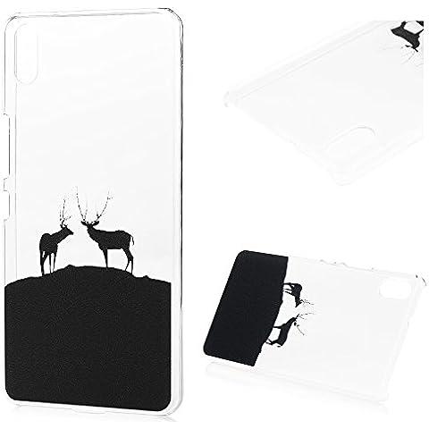 Lanveni Funda Carcasa Rigida PC ultra Slim para BQ Aquaris X5 Transparente Protective Case - Patrón Elk Negro Diseño