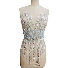 Parches con apliques de diamantes de imitación, perlas y cristales hechos a mano para coser