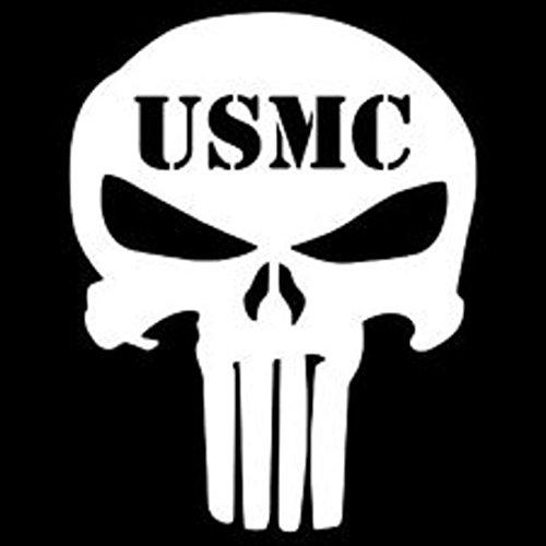 SUPERSTICKI® USMC Punisher Aufkleber Decal Hintergrund/Maße in inch Sticker Vinyl Cut| Cars Trucks Vans Walls Laptop|White|5 in Tall| CCI273