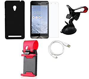 NIROSHA Tempered Glass Screen Guard Cover Case USB Cable Mobile Holder for ASUS Zenfone 6 - Combo