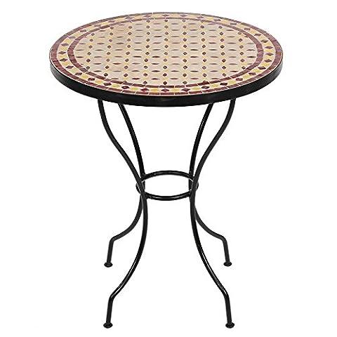 Marokkanischer Mosaiktisch Buri 60cm rund Gartentisch Bistrotisch Terrassentisch Fliesentisch Mediterraner Tisch Balkontisch (Buri: (Buri Natur)