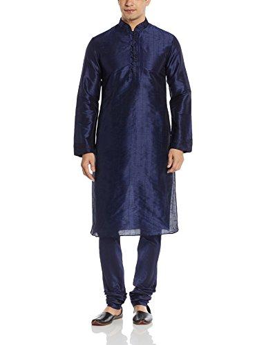Manyavar Men's Silk Kurta Churidar (8903035257055_S952136-339-S_Dark Blue)