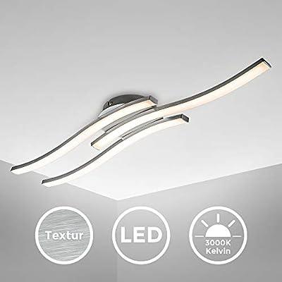 Plafoniera LED, luce calda 3000K, LED integrati 3x6W 3x480Lm, dimensione 56,5x12cm, lampada da soffitto moderna per salotto, cucina o camera da letto, lampadario in metallo color alluminio 230V IP20